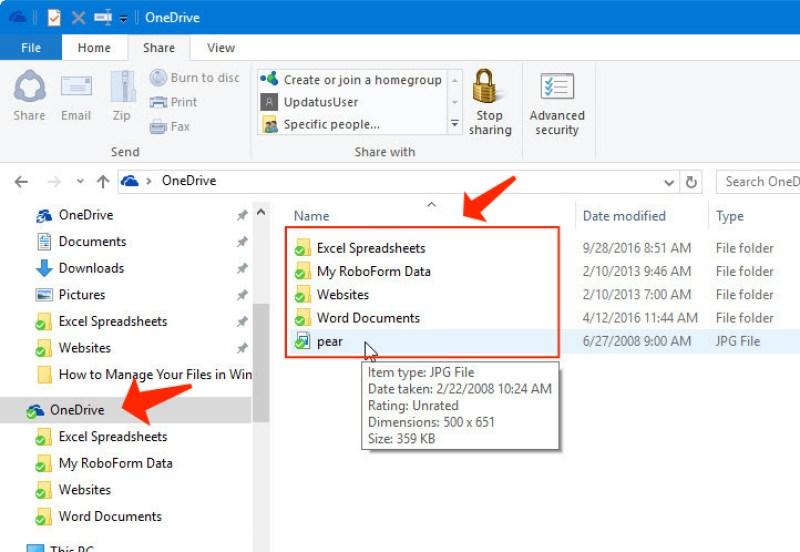 file explorer - OneDrive folder