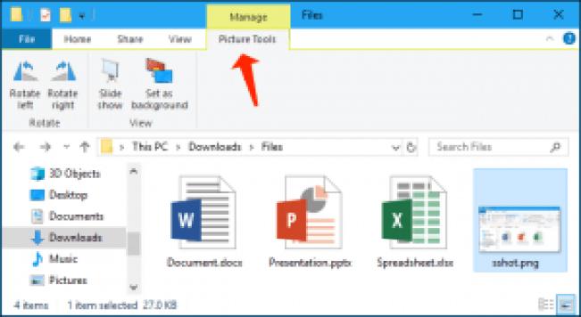 explorador de archivos - herramientas de imagen