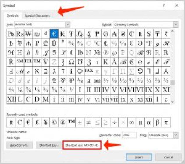 Windows 10 acceder rápidamente a símbolos especiales