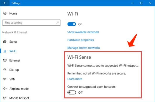 windows 10 Manage Wi-Fi settings
