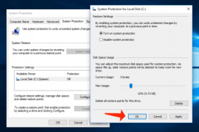 problemas de Windows 10: active la protección del sistema
