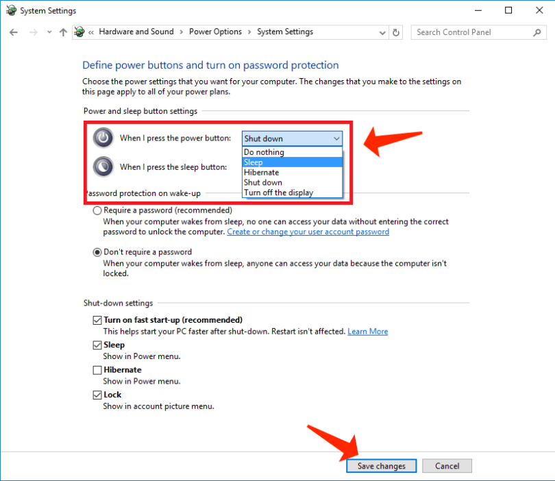 windows 10 - power buttons settings