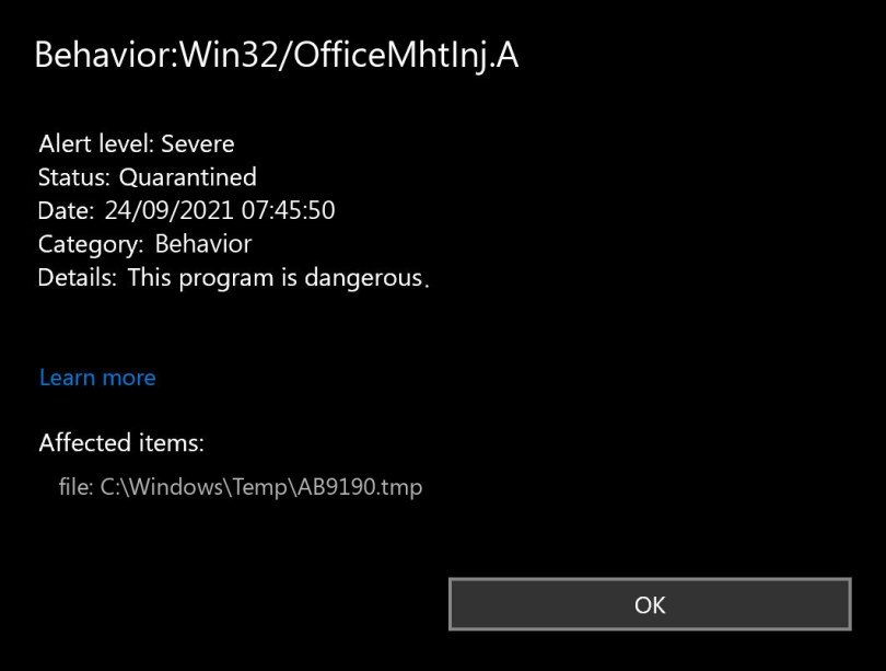 Behavior:Win32/OfficeMhtInj.A found