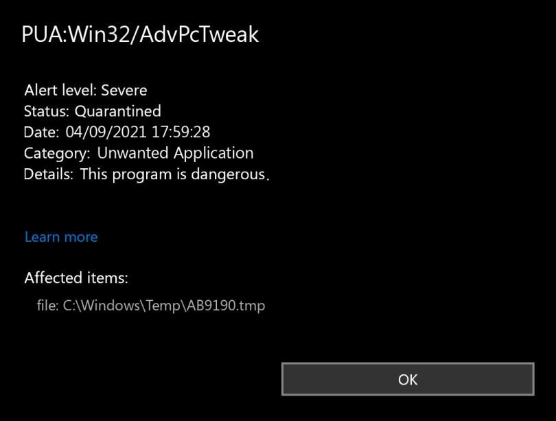 PUA:Win32/AdvPcTweak found