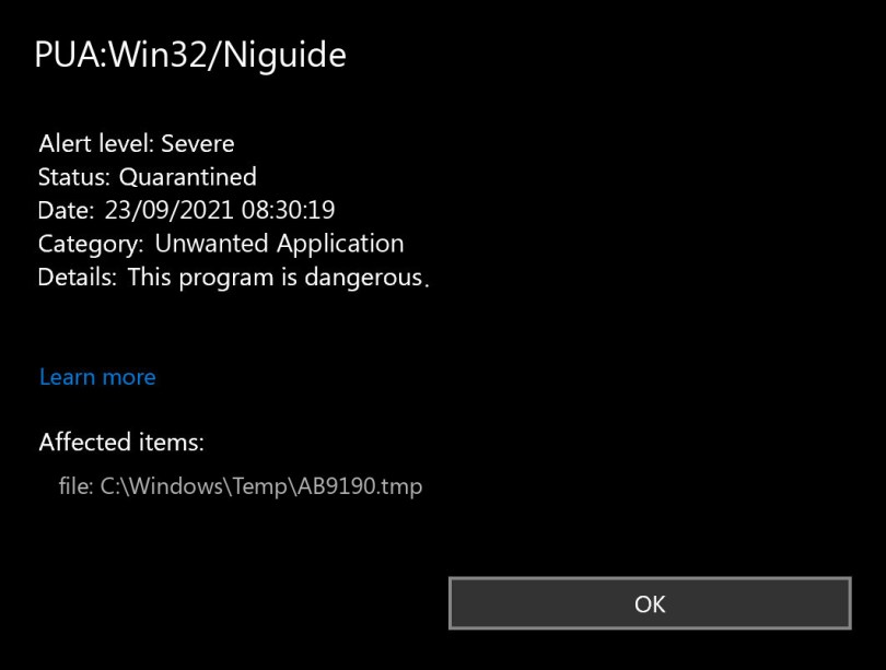PUA:Win32/Niguide found