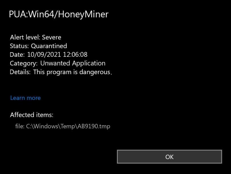 PUA:Win64/HoneyMiner found
