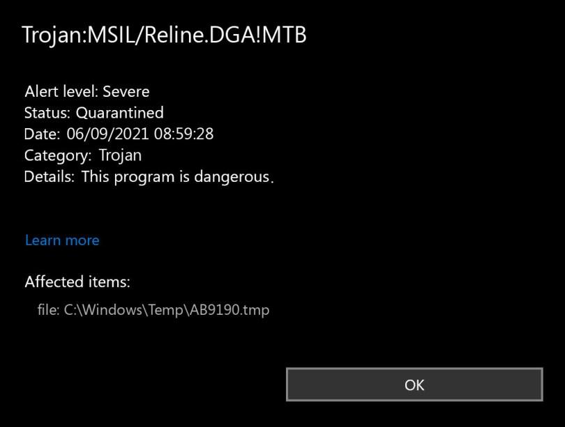 Trojan:MSIL/Reline.DGA!MTB found