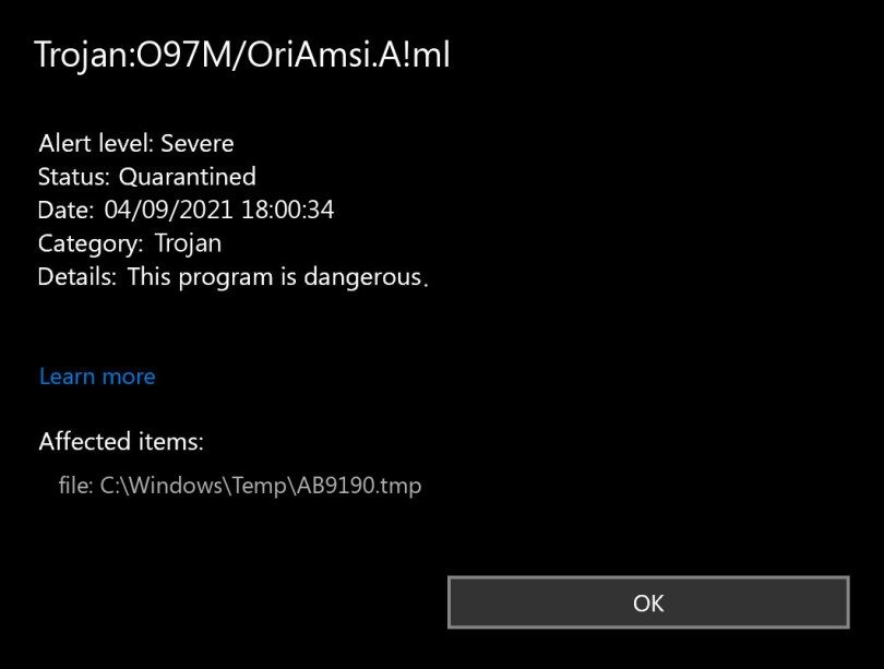 Trojan:O97M/OriAmsi.A!ml found