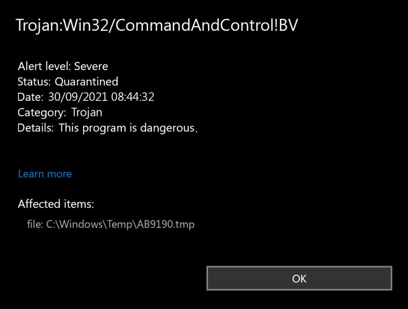 Trojan:Win32/CommandAndControl!BV found