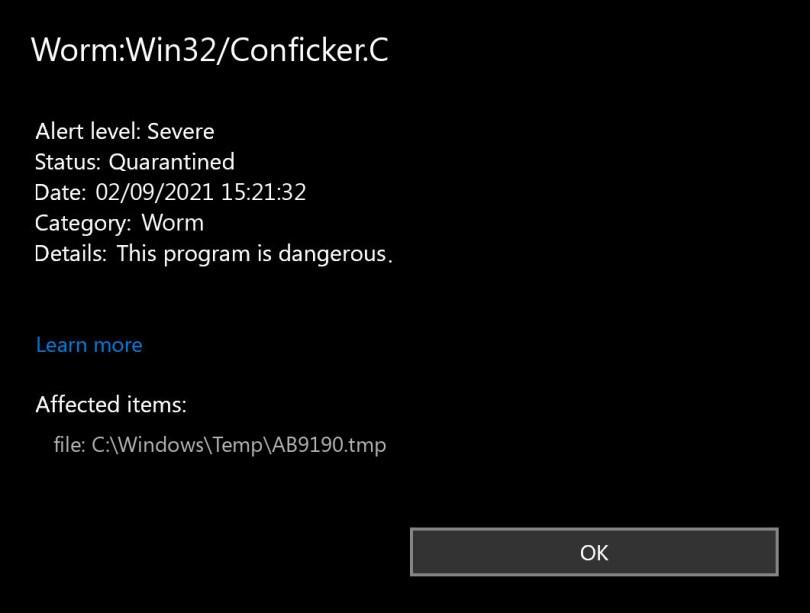 Worm:Win32/Conficker.C found