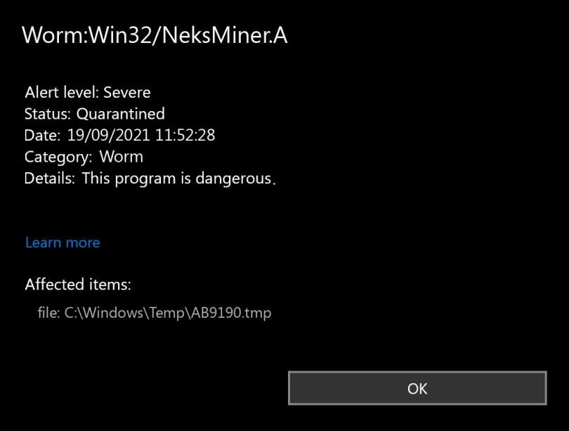 Worm:Win32/NeksMiner.A found