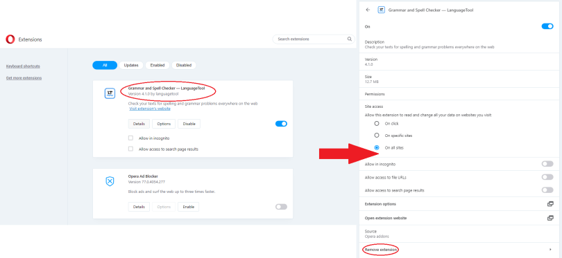 opera - remove browser extensions