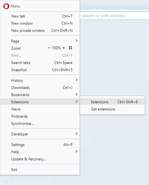 opera menu extensions