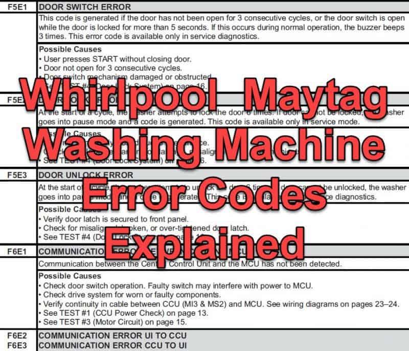 maytag washing machine error codes