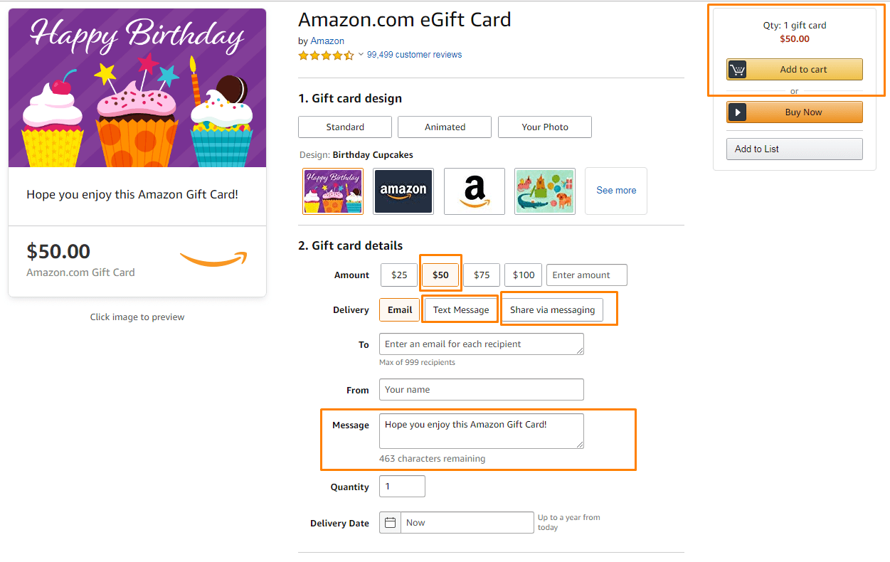 gift cards options
