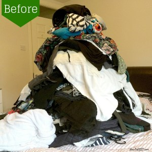 Completing the first category of the KonMari Method -- 'Clothes'. Before & after pics.