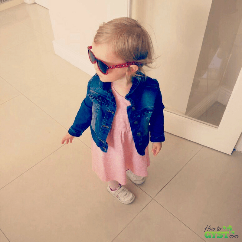 Spread positivity by performing a random act of kindness – Scout in denim jacket, toddler style