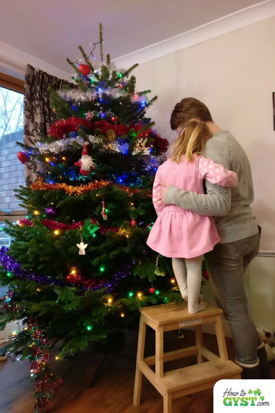 How To Save Money This Christmas   Scout & I hugging in front of Christmas tree, Xmas 2016