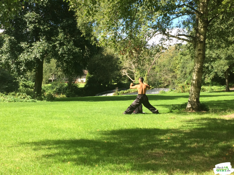 Man Doing Tai-Chi In Park | A reminder to stretch