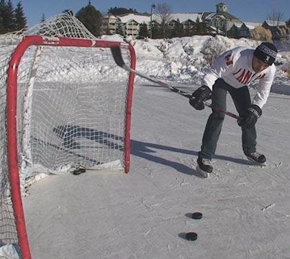 Backhand follow through in Hockey