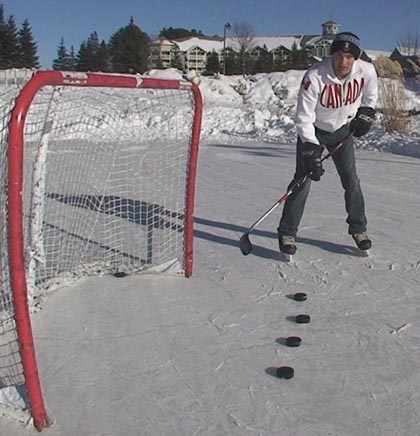 This picture shows the stance to shoot a the puck high from the backhand