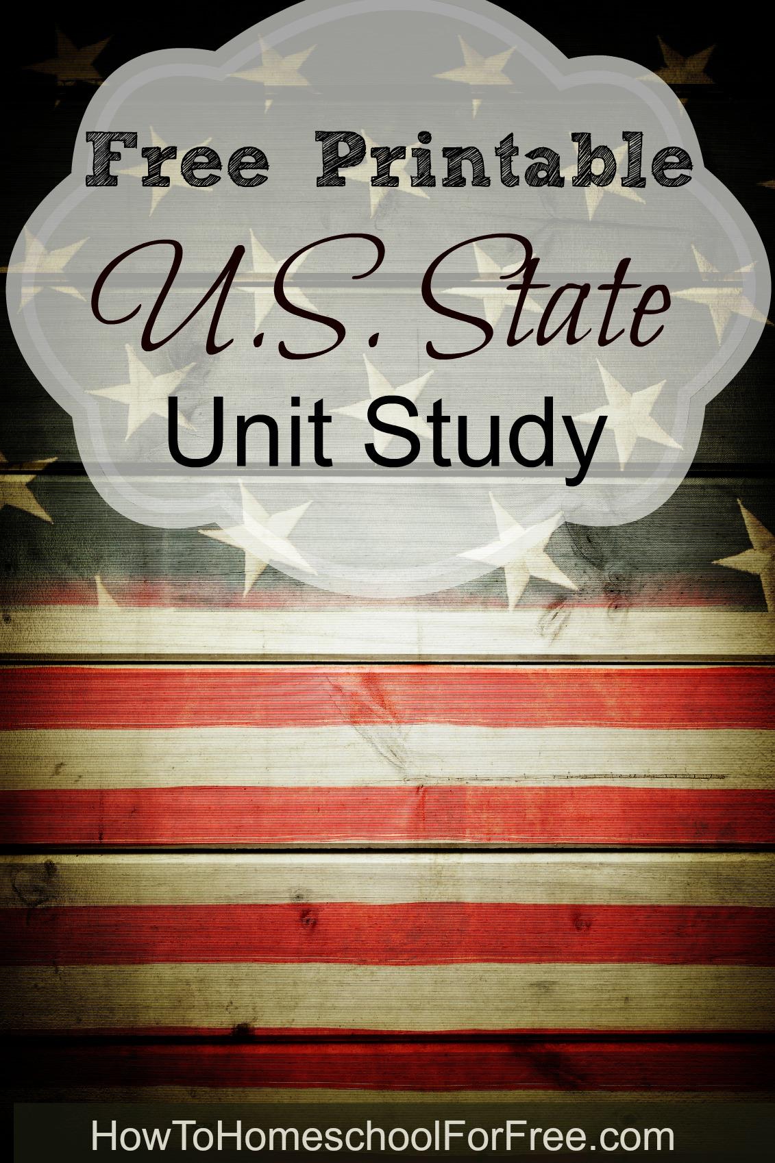 Free Printable U S State Unit Study