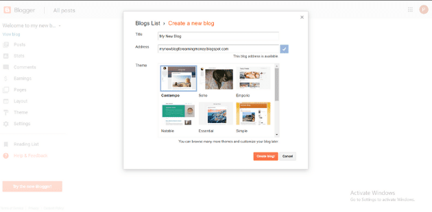 Create A New Blog in Blogger
