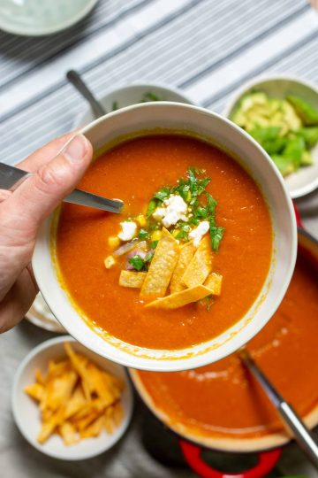 a hand holding a bowl of tortilla soup with a pot of soup and fixins in the background.