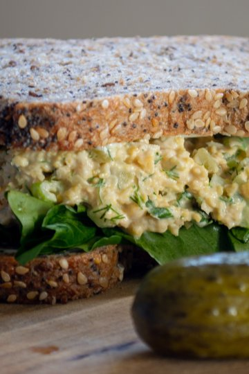 smashed chickpea and watercress sandwich