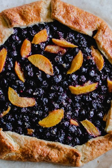 A beautiful rustic galette made with blueberries and peaches