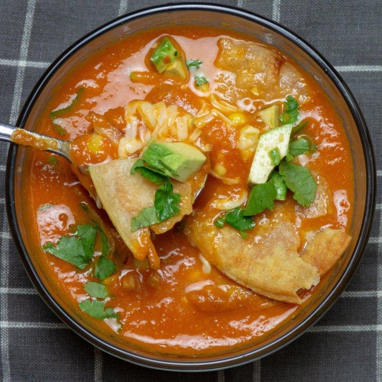 quick tortilla soup in a bowl