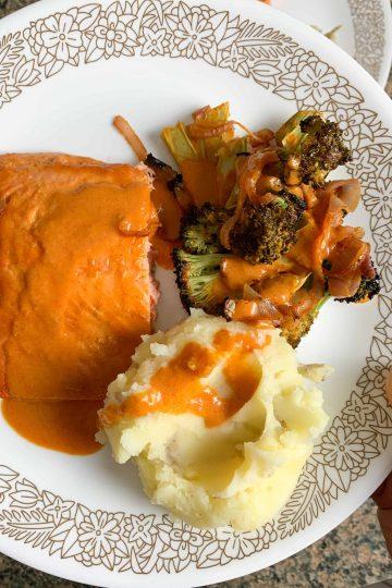 sheet pan salmon and broccoli with mashed potatoes
