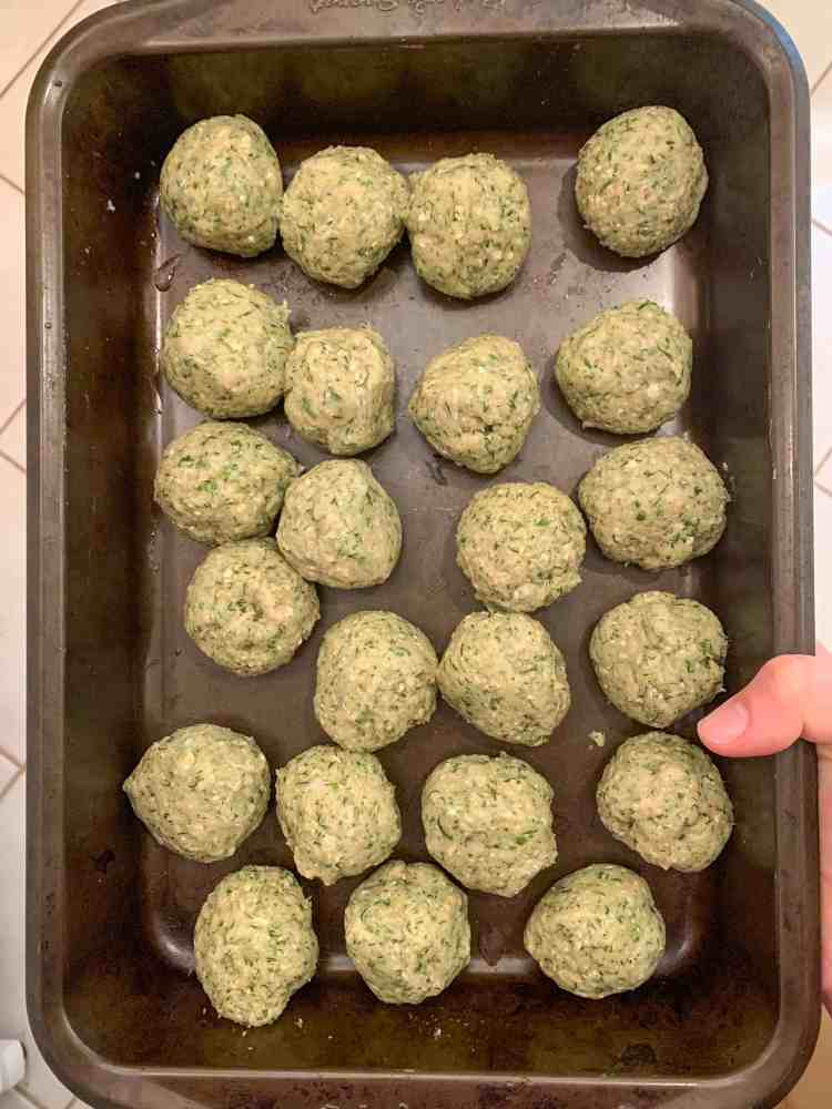 rolled turkey meatballs ready to be chilled.