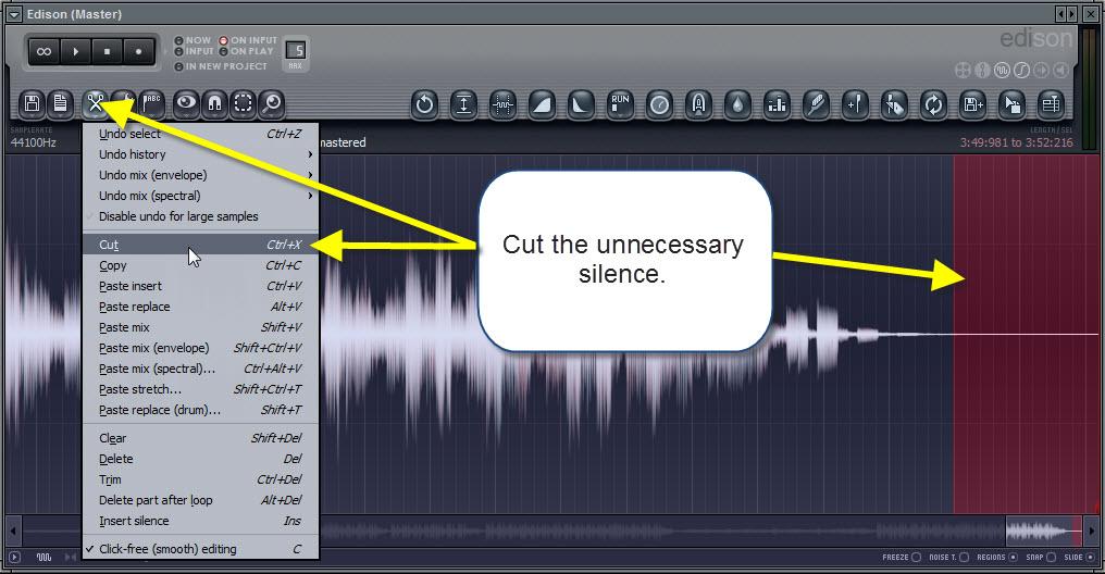 Quitar el silencio innecesario del audio