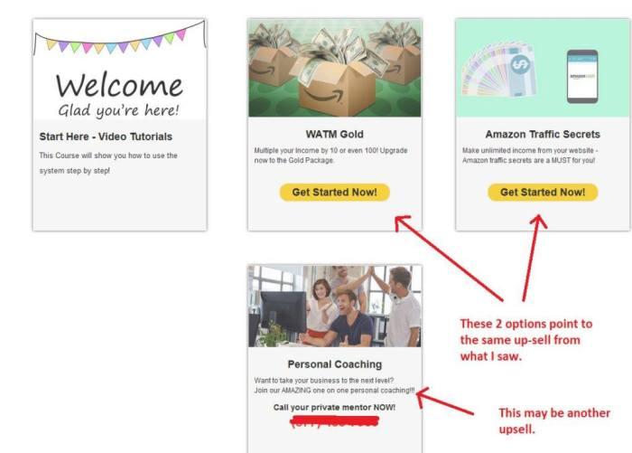 website atm upsells