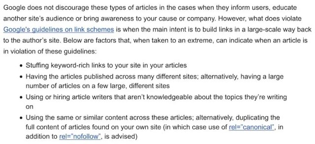 Google guest post guidelines