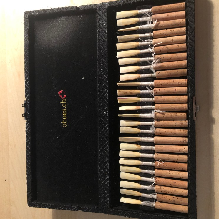 oboe reeds in my reed case.