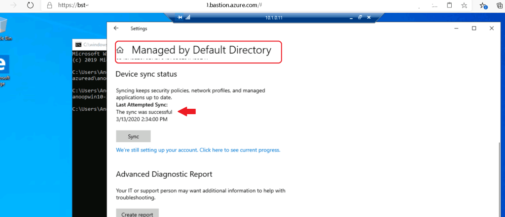 Managed by Default Directory -  Intune Enrollment for Windows 10 Azure VM
