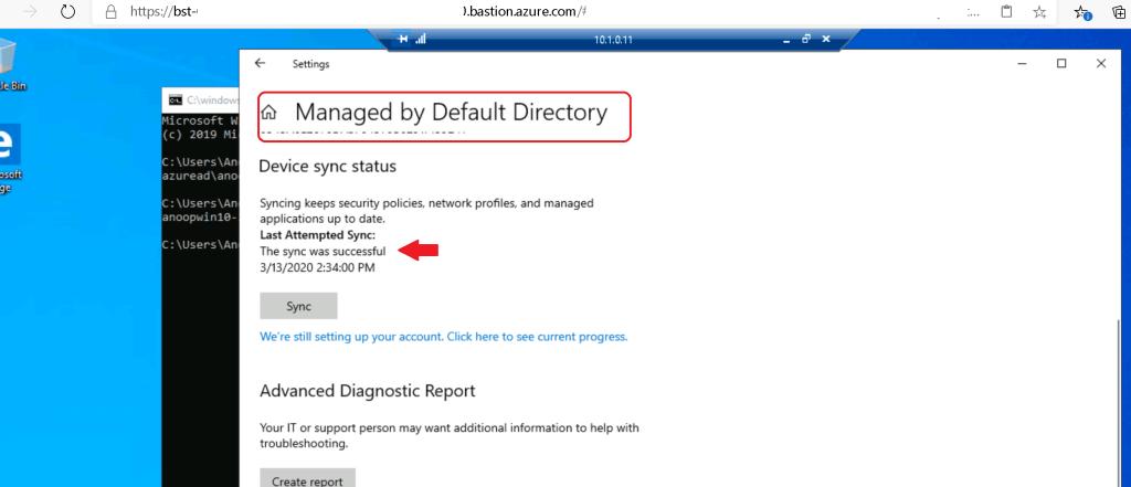 Managed by Default Directory - Intune Enrollment for Windows 10 Azure VM