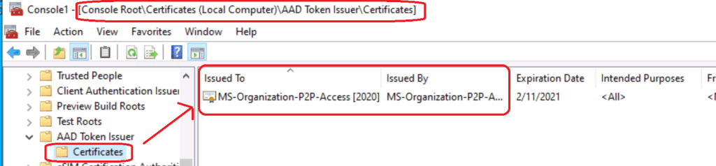 AAD Token Issuer Certificate RDP of Azure AD Joined Device MS-Organization-P2P-Access Certificate