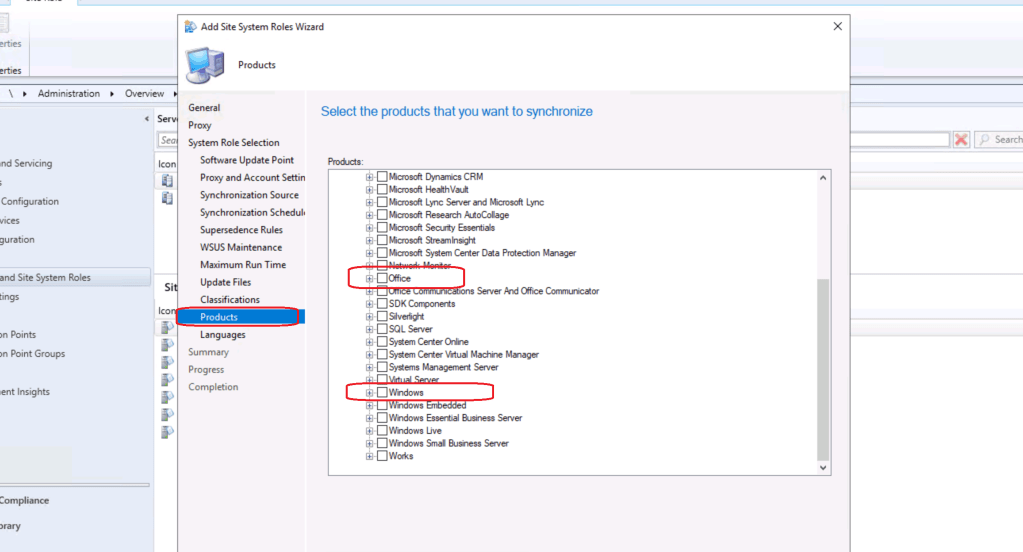 Default WSUS Product Selection