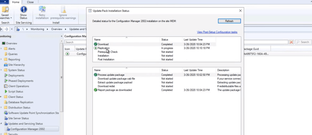 Updates and Servicing Status - SCCM 2002 Installation Step by Step Guide