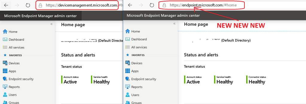 New URL for Intune