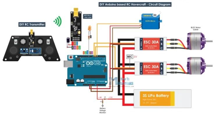 DIY Arduino RC Hovercraft Circuit Diagram