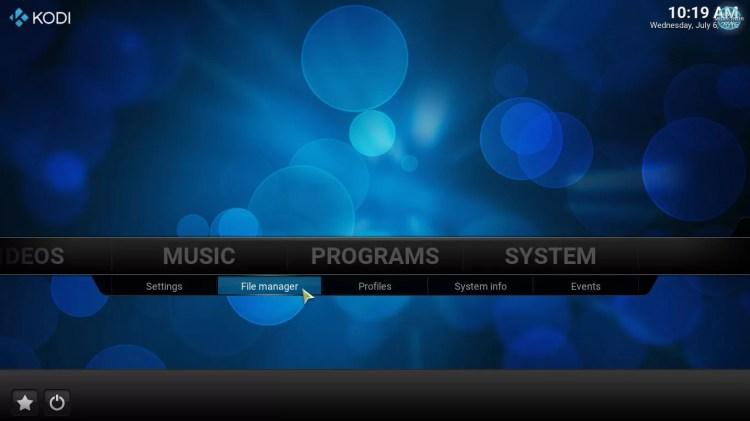 File manager option on kodi home screen