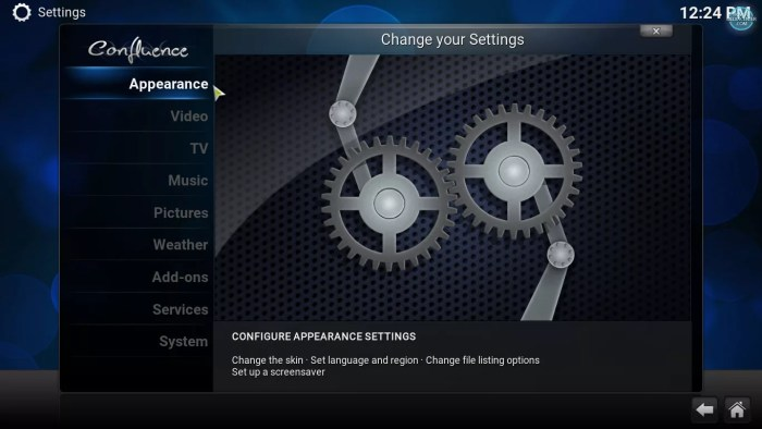 Appearance option in kodi settings