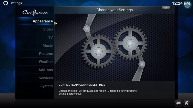Appearance option in kodi settings