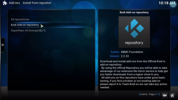 Kodi official addon repository