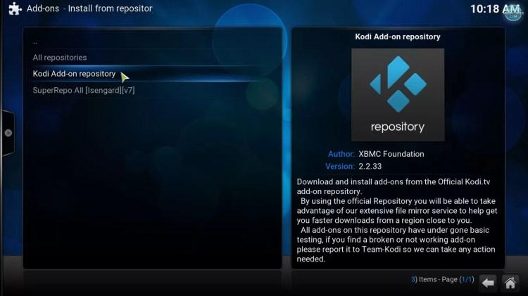 repositorio oficial de Kodi