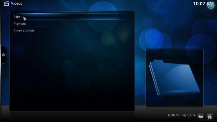 video files option on Kodi